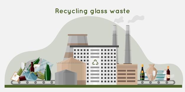 Recycling von glasabfällen in abfallrecyclinganlage für neue produkte mit rohrlagerung und gebäude null abfall konzept flache illustration illustration