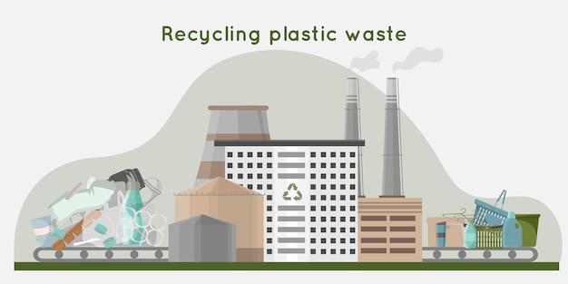 Recycling von kunststoffabfällen in neue produkte abfallrecyclinganlage mit rohrlagerung und gebäude null abfall konzept flache illustration illustration