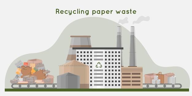 Recycling von papierabfällen in neue produkte abfallrecyclinganlage mit rohrspeicherung und gebäude null abfall konzept flache illustration illustration