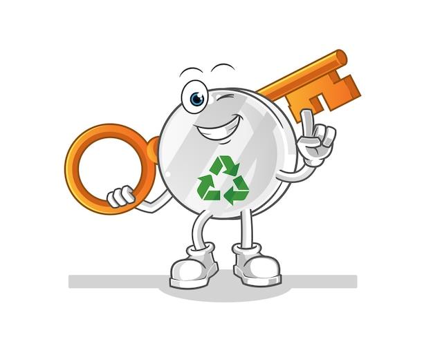 Recycling-zeichen, das eine schlüsselillustration hält