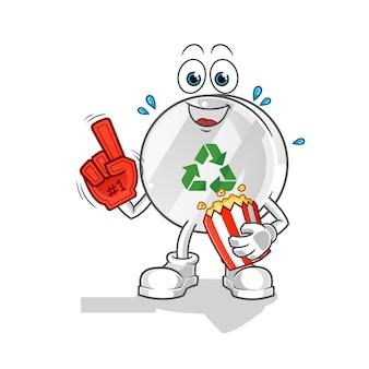 Recycling-zeichen fan mit popcorn-illustration