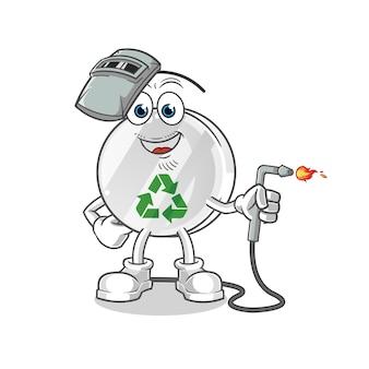 Recycling-zeichen schweißer maskottchen illustration