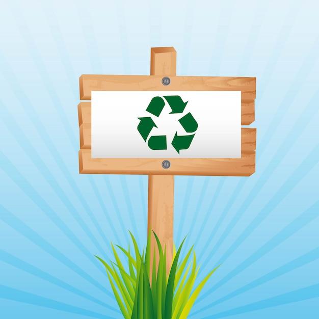 Recycling-zeichen über holzschild hintergrund vektor-illustration