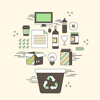 Recyclingkonzept: papierkörbe und zugehörige objekte im linienstil