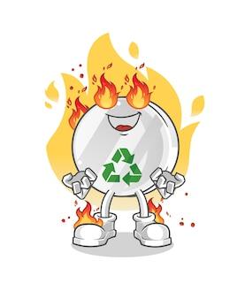 Recyclingzeichen auf feuermaskottchenillustration Premium Vektoren