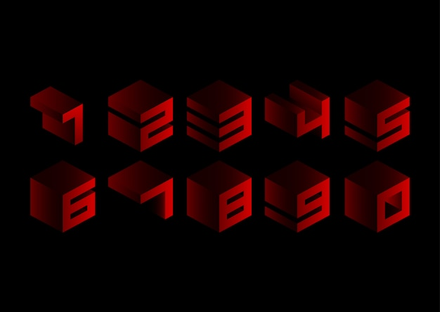 Red 3d cubic geometric numbers set