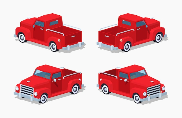 Red 3d lowpoly isometrische retro-pickup