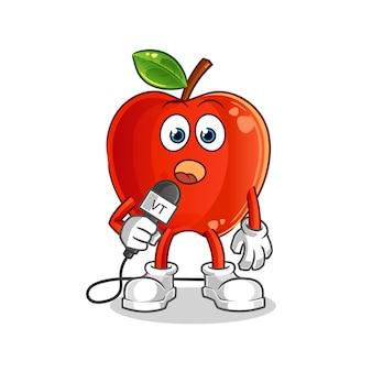 Red apple tv reporter cartoon maskottchen