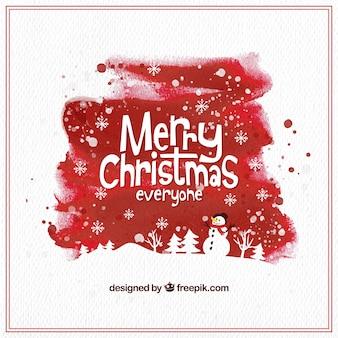 Red aquarell weihnachten hintergrund