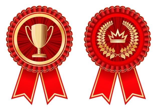 Red badge award mit trophäenbecher