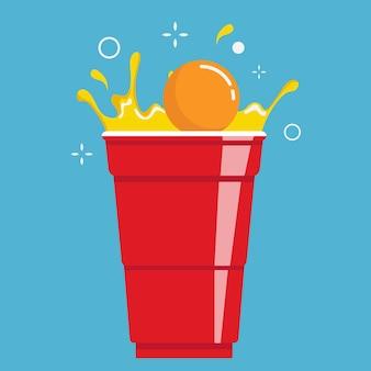 Red beer pong plastikbecher und ball mit spritzendem bier partytrinkspiel