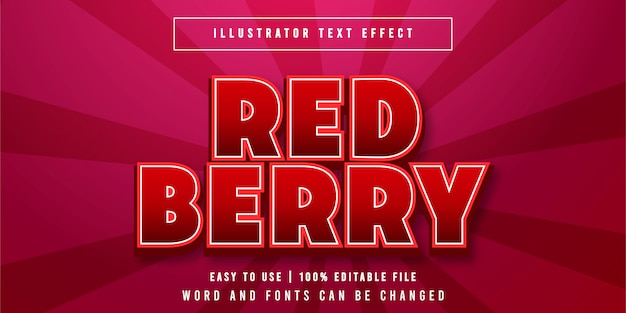 Red berry, bearbeitbarer spieletitel texteffekt grafikstil