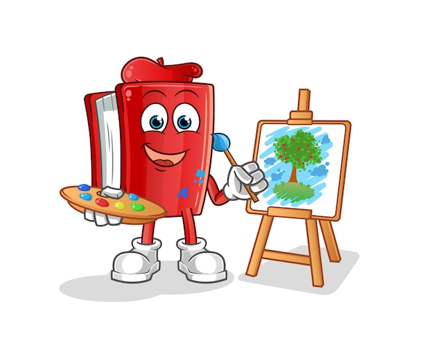 Red book künstler cartoon maskottchen