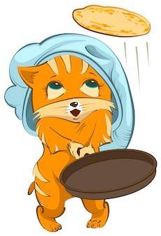 Red cat chef wirft pfannkuchen nach oben. isoliert auf weißem vektor-cartoon-illustration