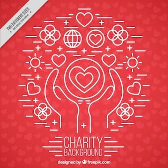 Red charity-hintergrund mit zeichnungen