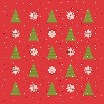 Red christmas muster mit schneeflocken, schnee und weihnachtsbäume