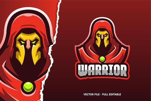 Red cloak warrior e-sport spiel logo vorlage