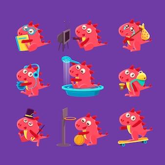Red dragon alltägliche aktivitäten satz von illustrationen