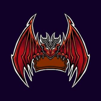Red dragon logo maskottchen illustration