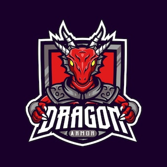 Red dragon maskottchen logo gaming gepanzert