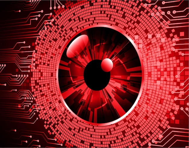 Red eye cyber circuit zukunftstechnologie hintergrund