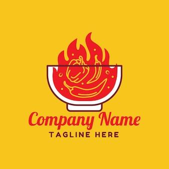 Red fire hot chili und pfeffer mit bowl-logo-vorlage auf gelbem hintergrund