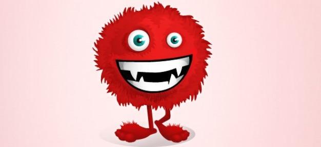 Red fluffy monster vector charakter