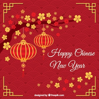 Red-gruß mit der chinesischen neujahr laternen