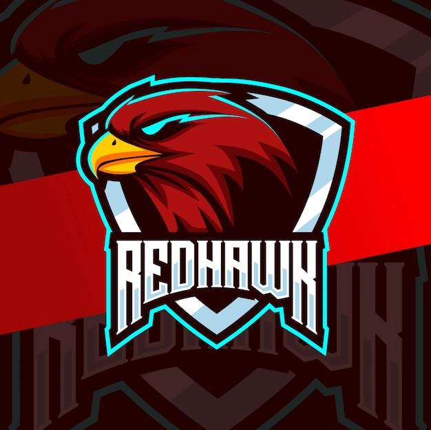Red hawk maskottchen esport logo design