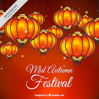 Red hintergrund mid-autumn festival mit laternen