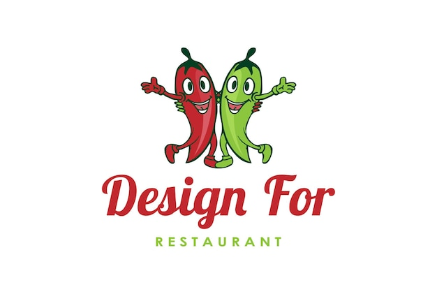 Red hot chili maskottchen zeichentrickfigur für restaurant logo design vector