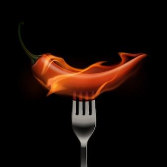 Red hot chili pepper auf feuer und flamme auf einer gabel auf weißem hintergrund
