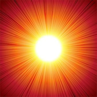 Red hot sun ray strahlende zusammenfassung