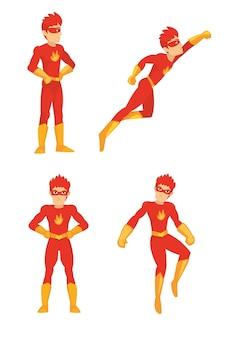 Red kostümierte superhelden-set