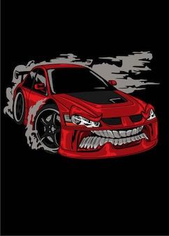 Red moster drift car