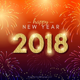 Red new year hintergrund mit feuerwerk