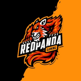 Red panda maskottchen logo esport gaming