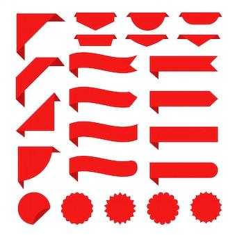 Red ribbon banner festgelegt. flaches rotes band für förderung, rabattaufkleber in den produktverkäufen