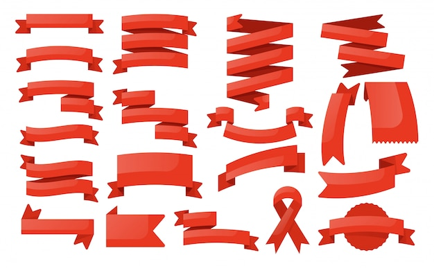 Red ribbon banner set. leeres etikettenbanner