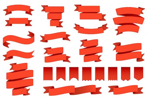 Red ribbon banner und flaggen. retro biegeband, vintage bannerflagge und gebogenes bannerset. sammlung von wimpeln, etiketten und luftschlangen. zeremonielle banderole und fahnenartige gegenstände