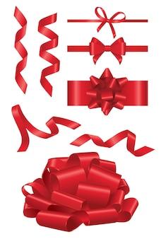 Red ribbon - realistischer moderner vektorsatz verschiedener formobjekte. weißer hintergrund. verwenden sie diese hochwertigen clipart-elemente für ihr design. schneiden sie das rote band durch, eröffnen sie eine show, dekorieren sie ein geschenk.