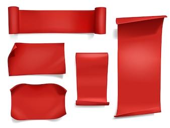 Red Ribbons und Banner Illustration. 3D-realistisches Papier, Satin-Textil- oder Seidenrolle