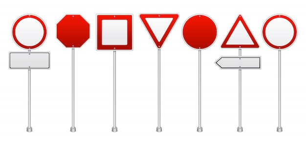 Red road signs realistische set