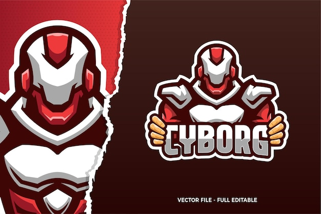 Red robot esports game logo vorlage