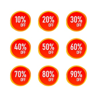 Red sale 10 - 90 prozent rabatt rabatt label tag isoliert. vektor-eps10