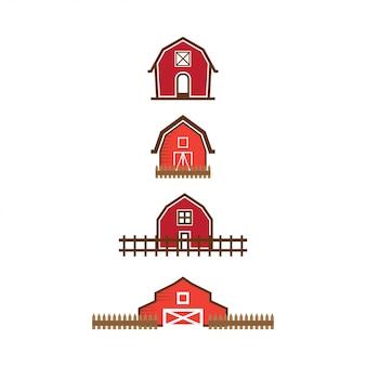 Red scheune logo design-vorlage