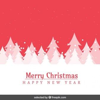 Red schneelandschaft und bäume weihnachtskarte