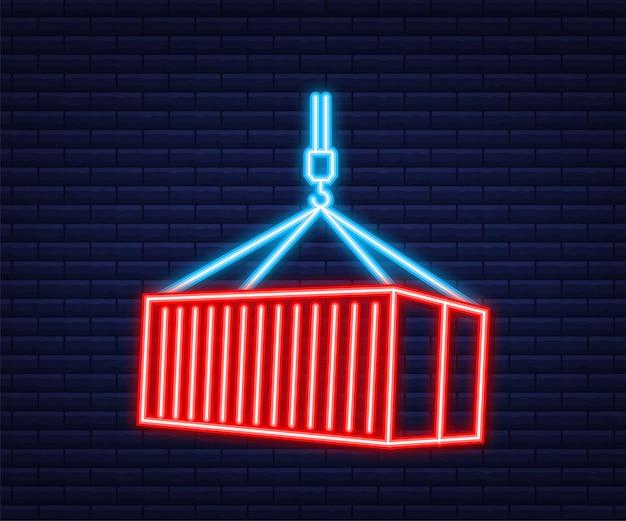 Red shipping cargo container zwanzig und vierzig fuß. für logistik und transport. neon-stil. vektorvorrat illustration.
