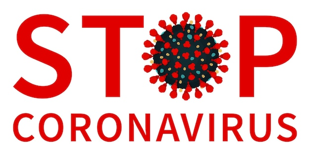 Red stop coronavirus-label mit covid 19