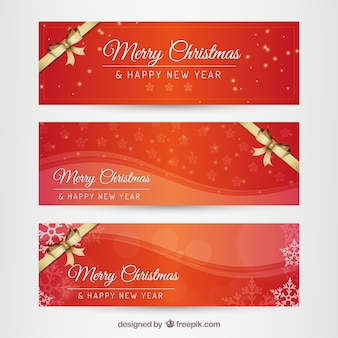 Red weihnachten und neujahr banner